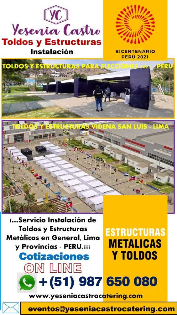Toldos y estructuras metálicas instalación lima perú 2021